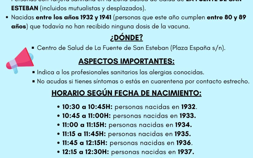 Horarios de vacunación frente a la Covid-19 en La Fuente de San Esteban