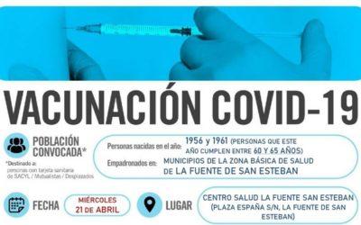 Horarios de vacunación frente a COVID-19 (población entre 60 y 65 años) en La Fuente de San Esteban