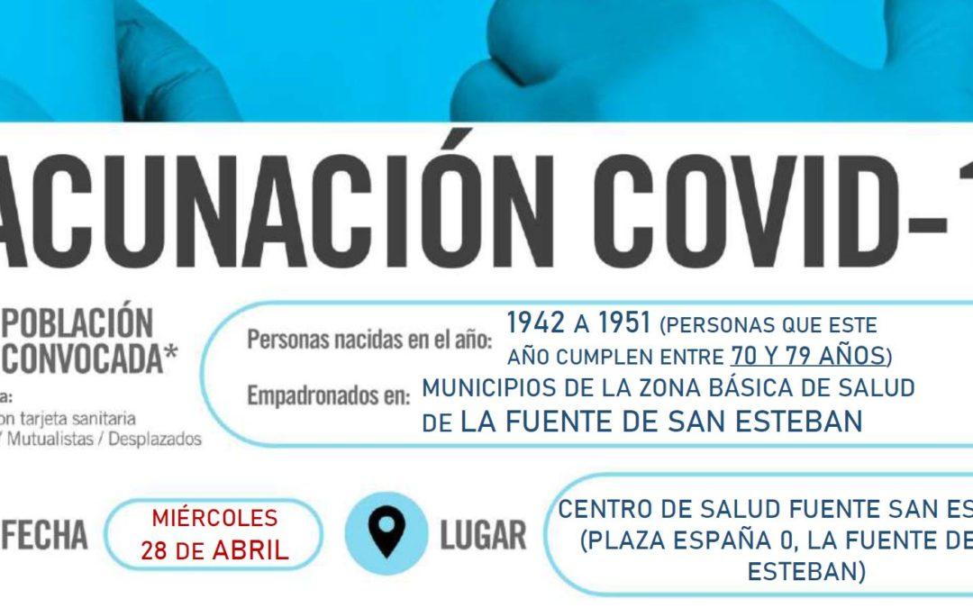 Horarios de vacunación frente a COVID-19 (población entre 70 y 79 años) en La Fuente de San Esteban