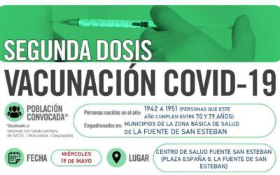 Horarios de vacunación frente a COVID-19 SEGUNDA DOSIS (población entre 70 y 79 años) en La Fuente de San Esteban