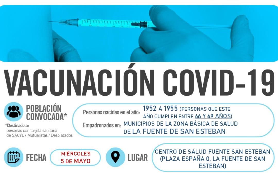 Horarios de vacunación frente a COVID-19 (población entre 66 y 69 años) en La Fuente de San Esteban