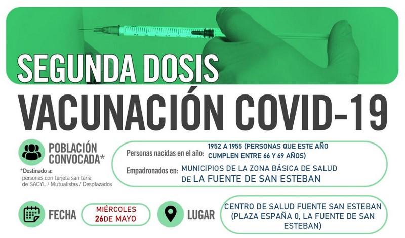 Horarios de vacunación frente a COVID-19 SEGUNDA DOSIS (población entre 66 y 69 años) en La Fuente de San Esteban
