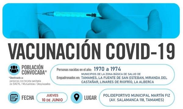 Horarios de vacunación frente a COVID-19 (personas nacidas en el año 1970 a 1974) en Tamames