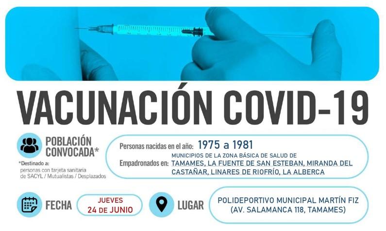 Horarios de vacunación frente a COVID-19 (personas nacidas en el año 1975 a 1981) en Tamames