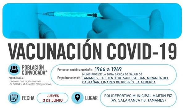 Horarios de vacunación frente a COVID-19 (personas nacidas en el año 1966 a 1969) en Tamames