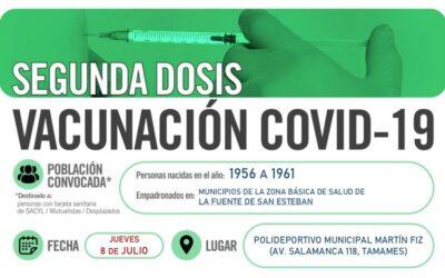 Horarios de vacunación frente a COVID-19 (personas nacidas en el año 1956 a 1961) en Tamames