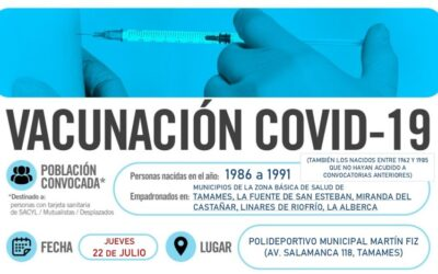 Horarios de vacunación frente a COVID-19 (personas nacidas en el año 1986 a 1991) en Tamames