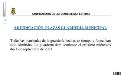 Adjudicación plazas guardería municipal
