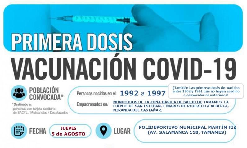 Horarios de vacunación frente a COVID-19 (personas nacidas en el año 1992 a 1997) en Tamames